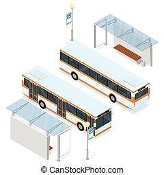 autobús, shelter.