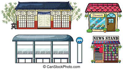 autobús, tiendas, estación, vario