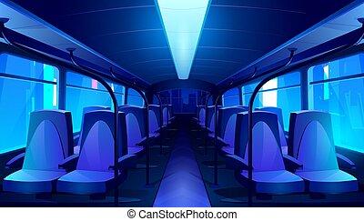autobús, vacío, noche, escuela, interior, vector