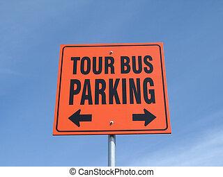 autobús, viaje, señal de estacionamiento