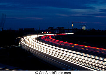 autobahn, autos, nacht