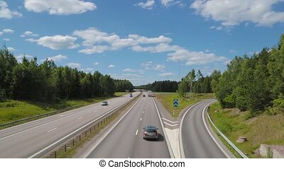 Traffic on highway at day - high angle view - Autobahn...