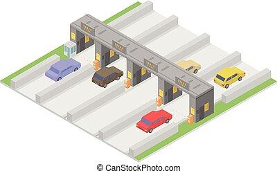 autobahn, icône, isométrique, style