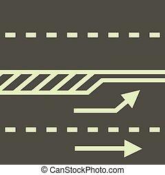 autobahn, icône, style, dessin animé