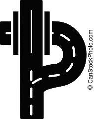 autobahn, icône, style., simple