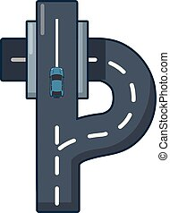 Autobahn icon, cartoon style. - Autobahn icon. Cartoon...