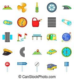 Autobahn icons set, isometric style - Autobahn icons set....