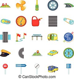 Autobahn icons set, isometric style - Autobahn icons set....