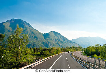 Autobahn in Austrian Alps near Italy border