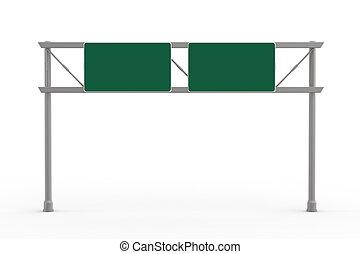 autobahn, leer, grün, zeichen