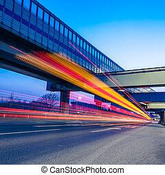 autobahn, licht, spuren, nacht