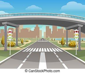 autobahn, passage supérieur, autoroute, illustration