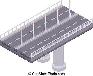autobahn, pont, icône, isométrique, style