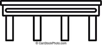 autobahn, pont, icône, style, contour