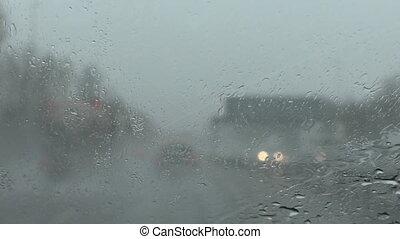 autobahn, schlechte, Wetter