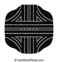 Autobahn single icon in black style.Autobahn vector symbol stock illustration web.