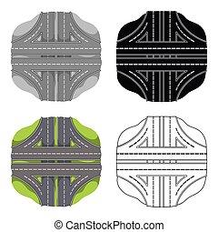 Autobahn single icon in cartoon style.Autobahn vector symbol stock illustration web.