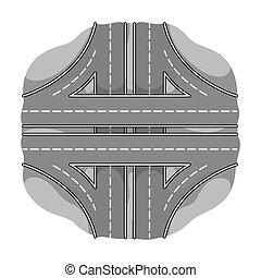 Autobahn single icon in monochrome style.Autobahn vector symbol stock illustration web.
