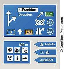 autobahn, zeichen & schilder