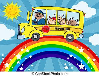 autobus, école, autour de, arc-en-ciel