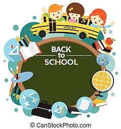 autobus, école, cadre, étudiant
