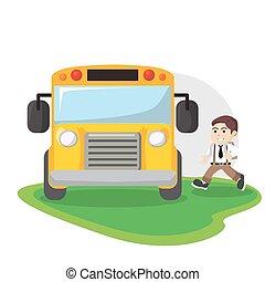 autobus, école, conception, illustration