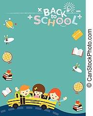 autobus, école, icône, étudiant, cadre