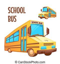 autobus école, illustration, vecteur, fond, blanc