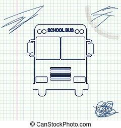 autobus école, isolé, illustration, arrière-plan., vecteur, croquis, ligne, blanc, icône