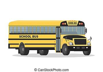 autobus école, isolé, jaune, vecteur, fond, blanc