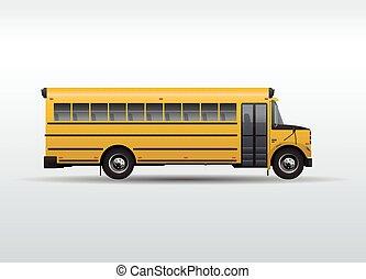 autobus école, isolé, vecteur, fond, blanc