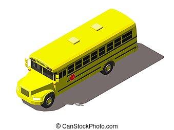 autobus école, isométrique, illustration, isolé, vecteur, fond jaune, blanc