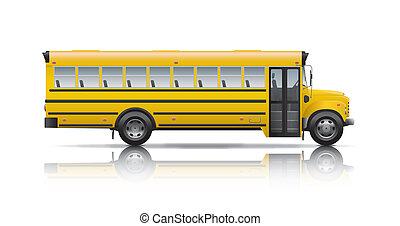 autobus, école, jaune