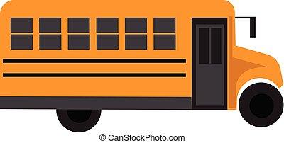 autobus école, jaune, vecteur, illustration, fond, blanc
