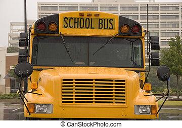 autobus, école, mouillé