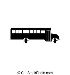 autobus, école, noir, icône