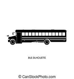 autobus, école, silhouette, noir