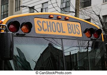autobus, école, ville, jaune, reflations