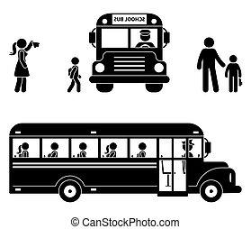 autobus, écoliers, séance