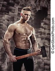 autobus, ładny, hammer., cielna, atleta, metal, bodybuilder, stosowność, facet, utrzymywać, młot, mięsień