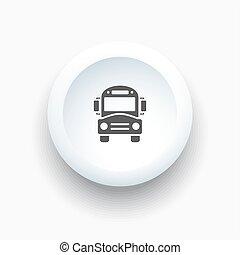 autobus, škola, běloba knoflík, ikona
