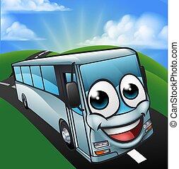 autobus allenatore, carattere, scena, cartone animato, mascotte