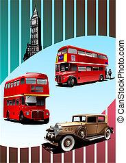 autobus, automobile, due, broun, decker, vettore, londra, ...
