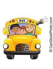 autobus, bambini, giallo