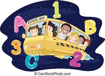 autobus, bambini scuola, stickman, galassia