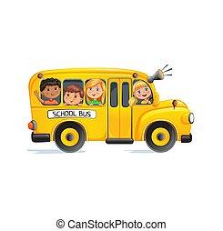 autobus, bambini, scuola