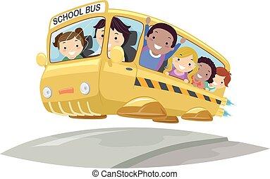 autobus, bambini, stickman, futuristico, illustrazione