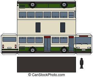 autobus, bianco, carta, verde, modello