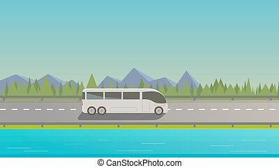 autobus, bianco, turistico