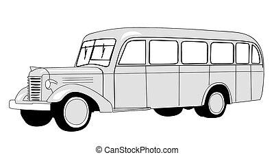 autobus, blanc, silhouette, fond